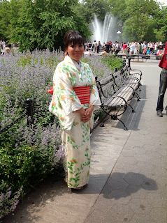 Young woman in Japanese Kimono - Kimono House NY
