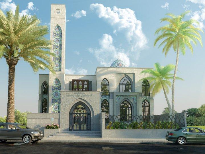 Plan Elevation Label : Modern mosque design layout elevation d front