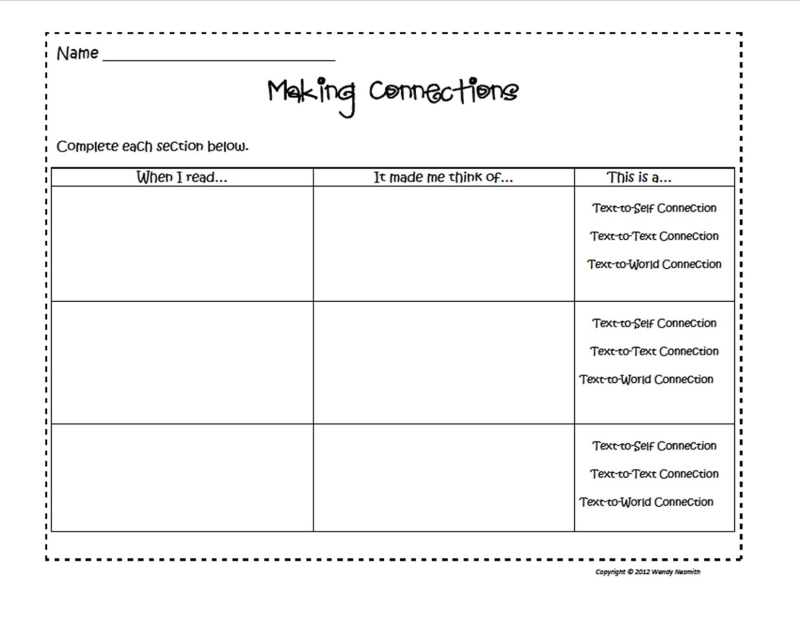 Our TellTaleBlog Having Reflections Making Connections – Text to Text Connections Worksheet