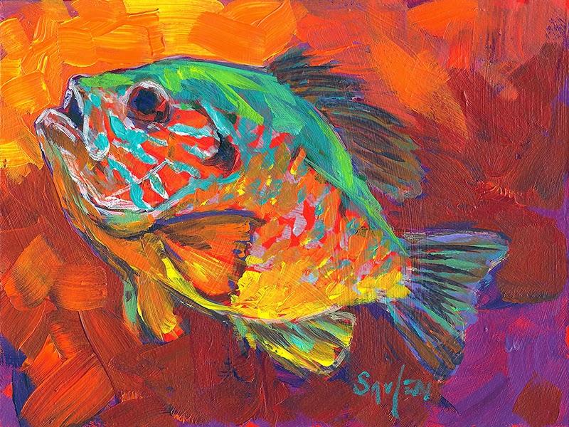 The fiberglass manifesto savlen studios bluegill studies for Fish paintings on canvas