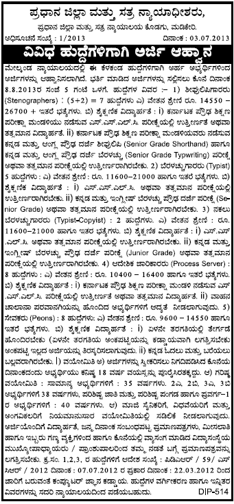 Kodagu District Sessions Court Recruitment Notification