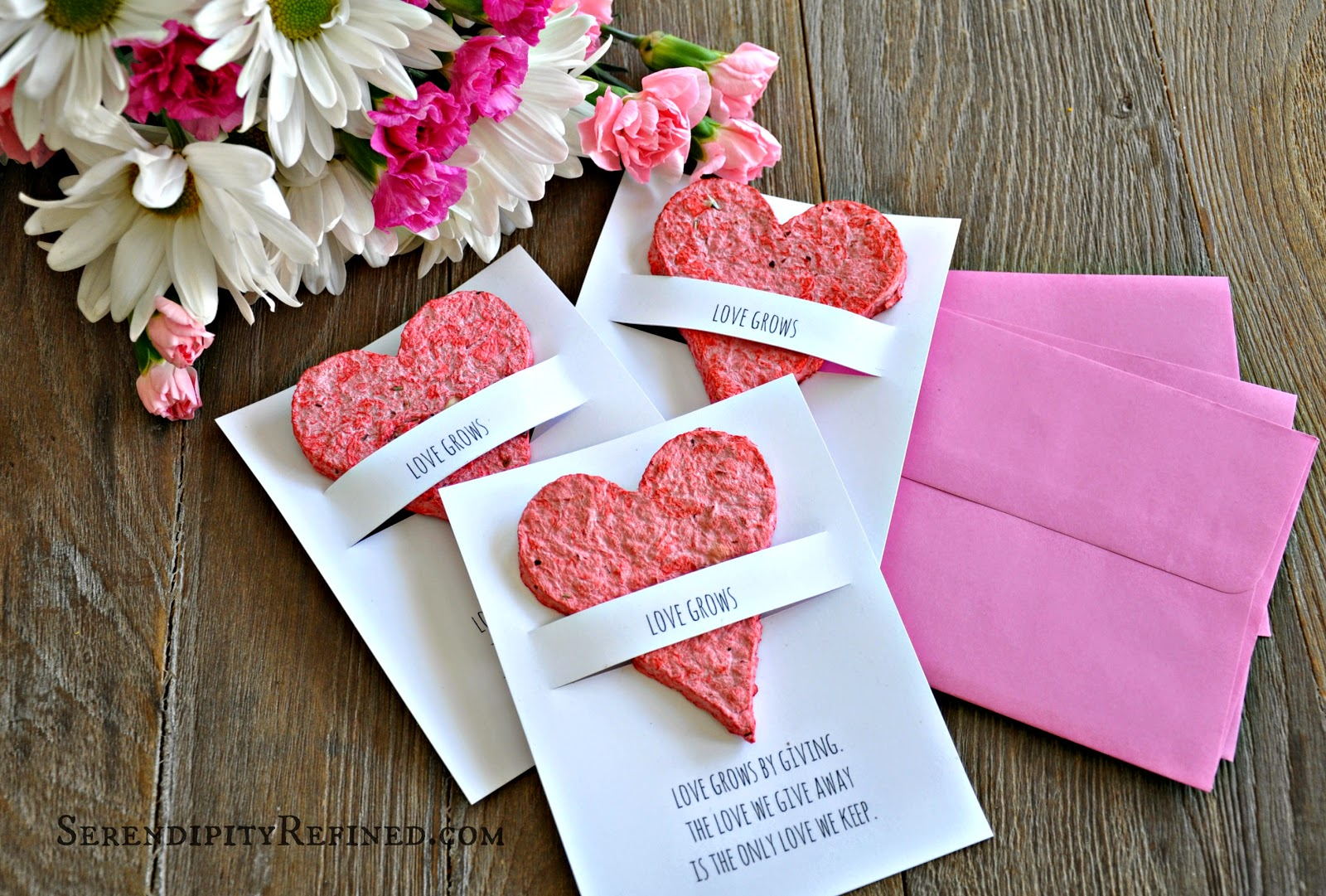 Hand Made Flower Seed Paper Plantable Heart Favors