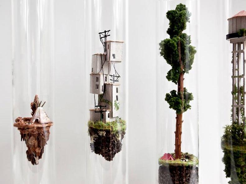 Micro Matter: Entornos arquitectónicos en miniatura dentro de tubos de ensayo