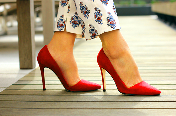 Alice and Olivia Red Dina Suede Pumps