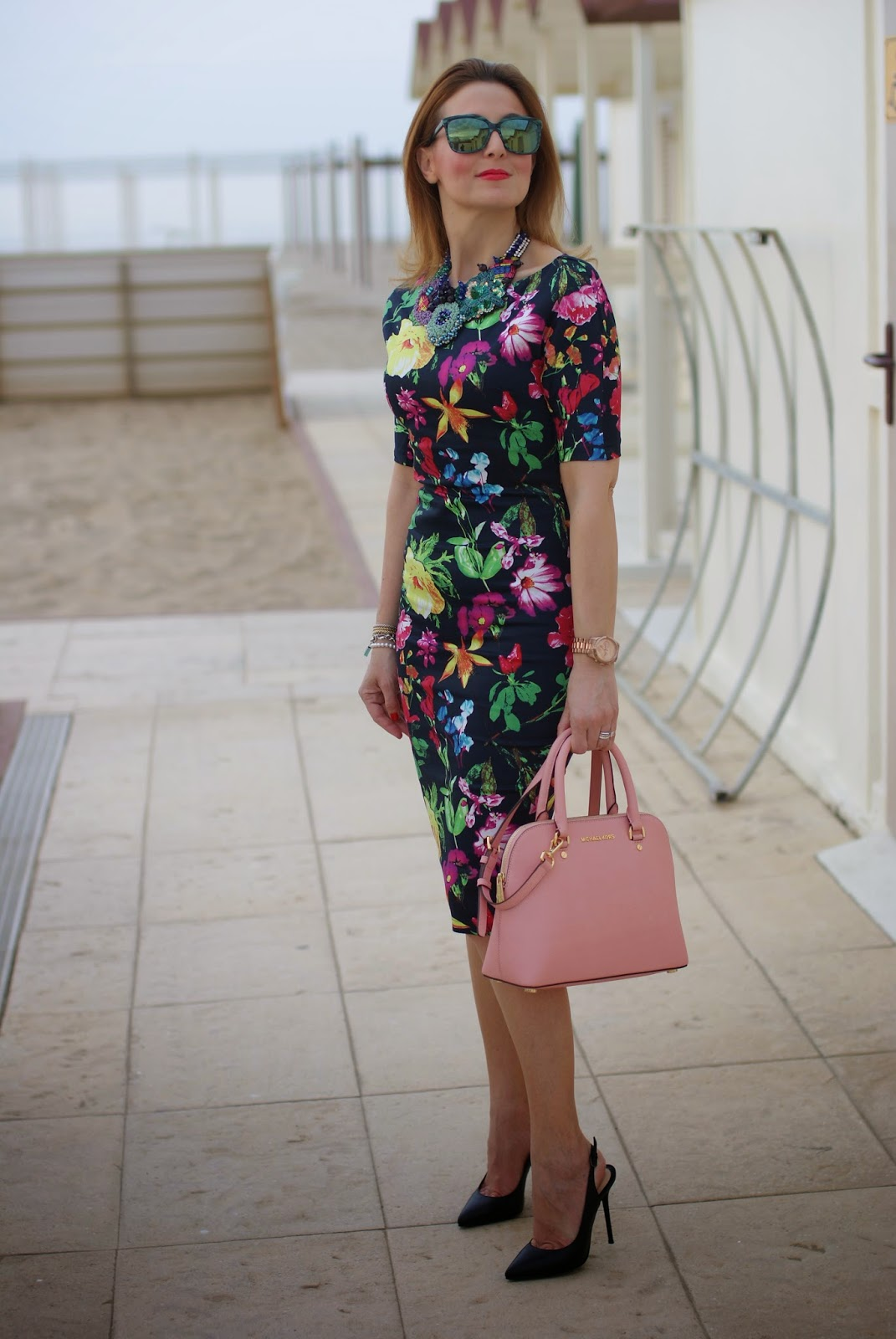 Ax Paris floral midi dress, floral bodycon dress with black stiletto slingbacks, Michael Kors Cindy pink bag, HypeGlass sunglasses on Fashion and Cookies fashion blog, fashion blogger style
