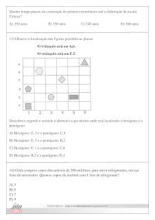 prova de matematica 6 ano