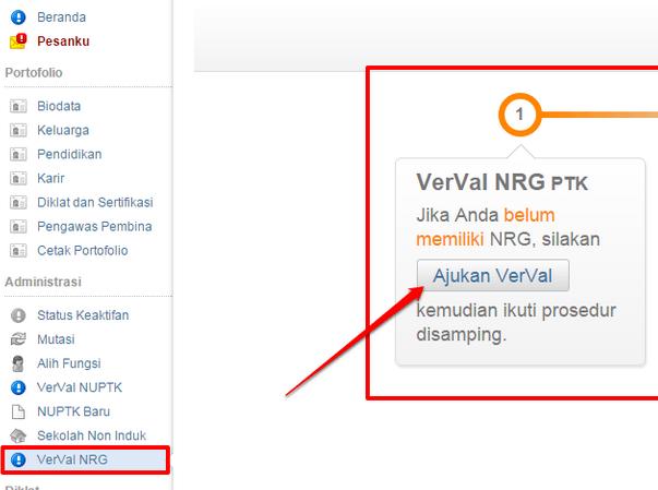 panduan, mekanisme, CARA verval nrg guru, verifikasi dan validasi nomor registrasi guru di padamu negeri 2015 NRG verval