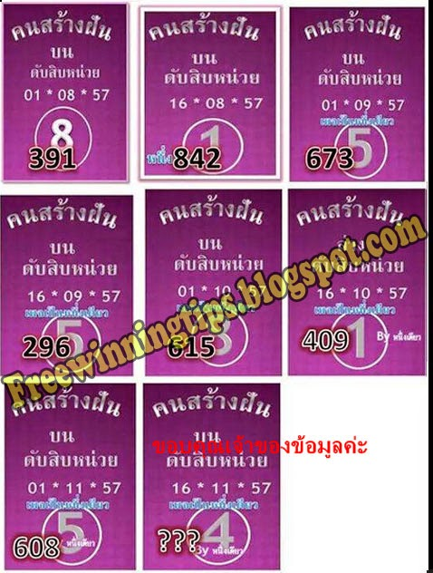 Thai lottery single Cut Digit 16-11-2014