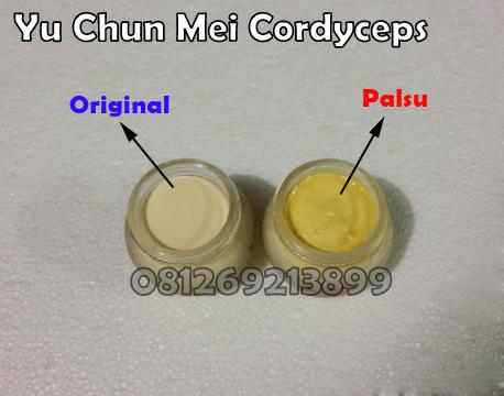Cream Yu Chun Mei Cordyceps asli dan palsu