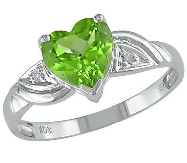 Heart-Shaped Peridot Ring