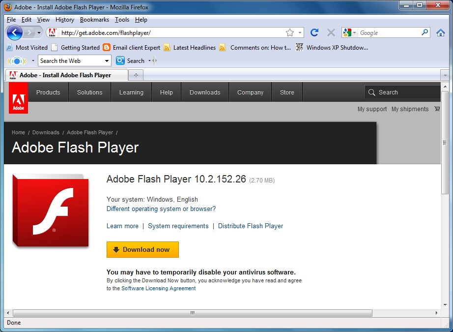 install adobe flash firefox