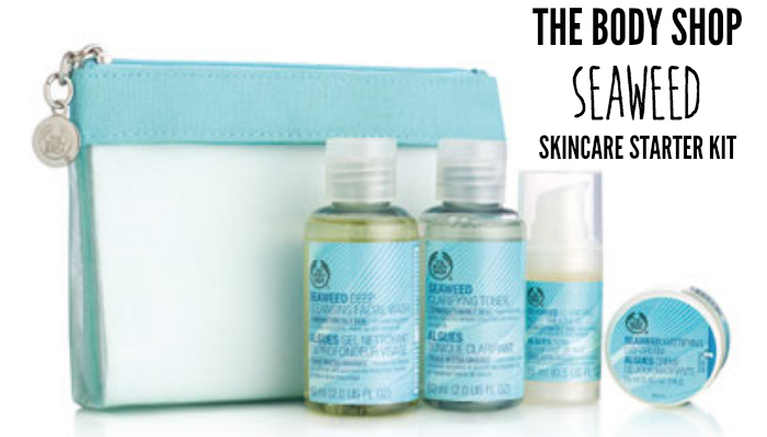 the body shop seaweed skincare starter kit review, mattifying day cream, seaweed clarifying toner,  purifying night treatment, deep cleansing facial wash review