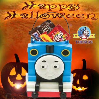 Cute Thomas the tank engine Trick or Treat bag Halloween candy pail carrying various chocolate bars