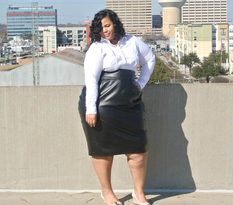 Plus Size High Waist Leather Skirt, JIBRI Plus Sizes