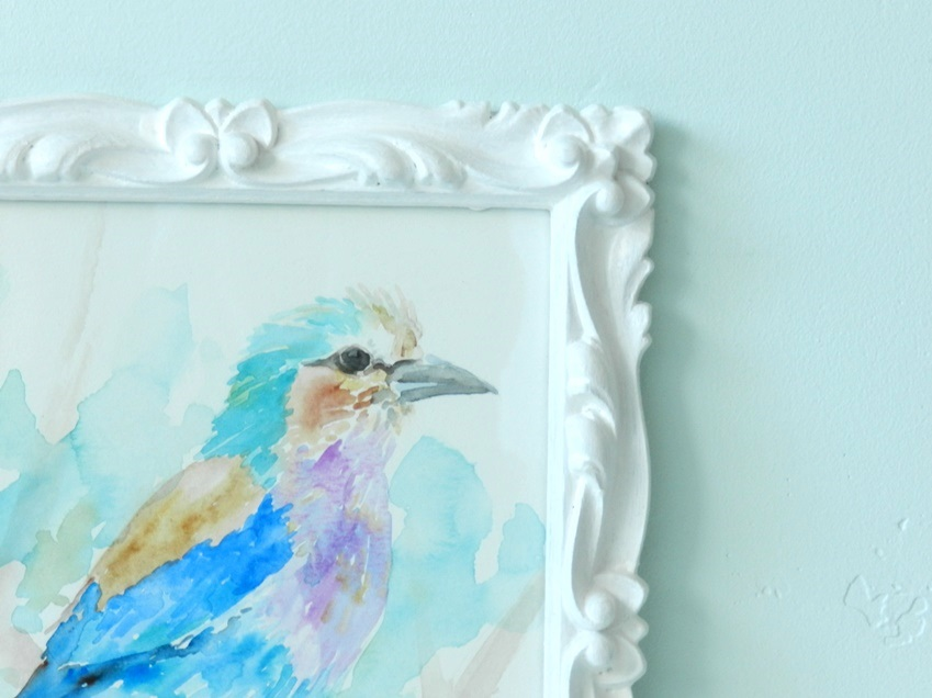 Watercolor Bird Painting in a White Frame
