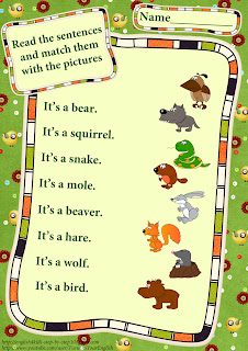 wild animals worksheet matching pictures and simple sentences