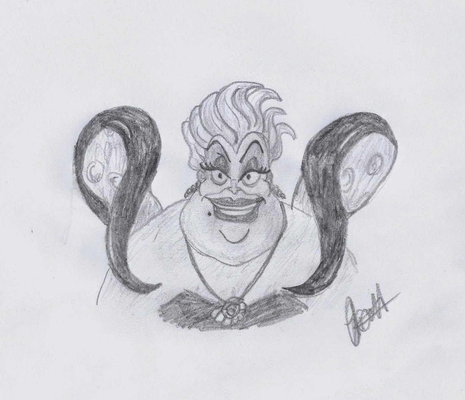 Disney Study: Ursula the Sea Witch from The Little Mermaid, www.JoLinsdell.com #Disney #Sketches