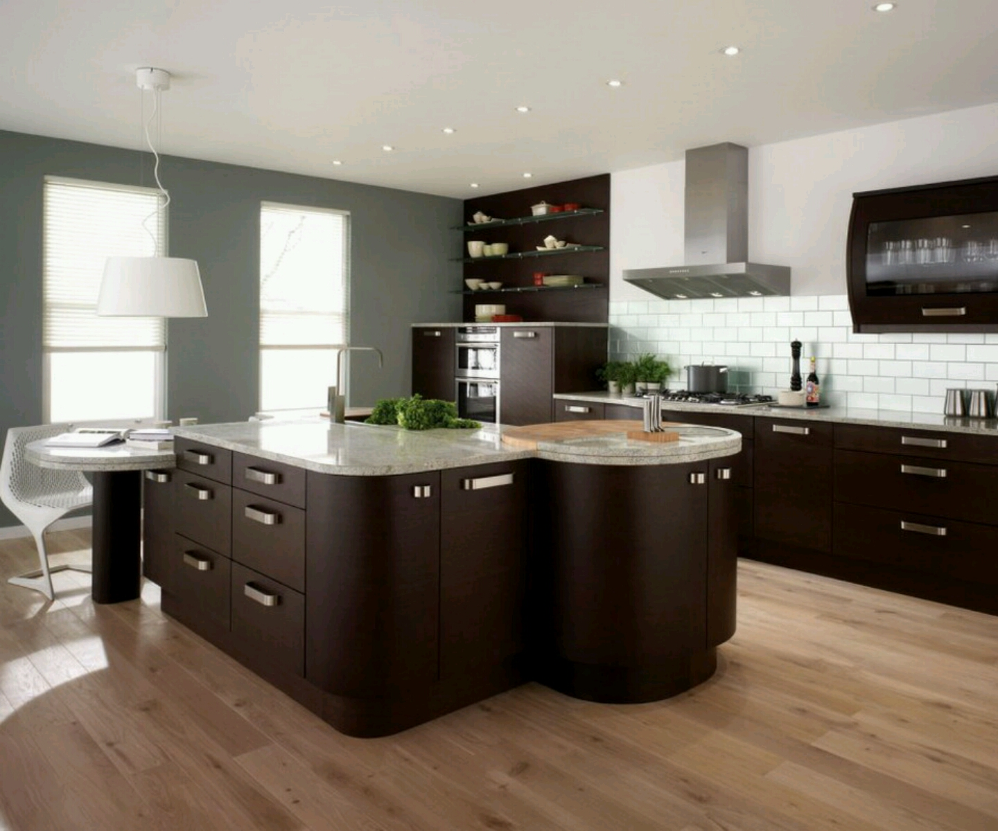 Modern Kitchen Design Ideas on wooden floor