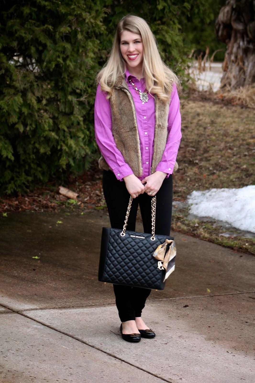 black jeans, purple button up, fur vest, quilted bag, tory burch flats