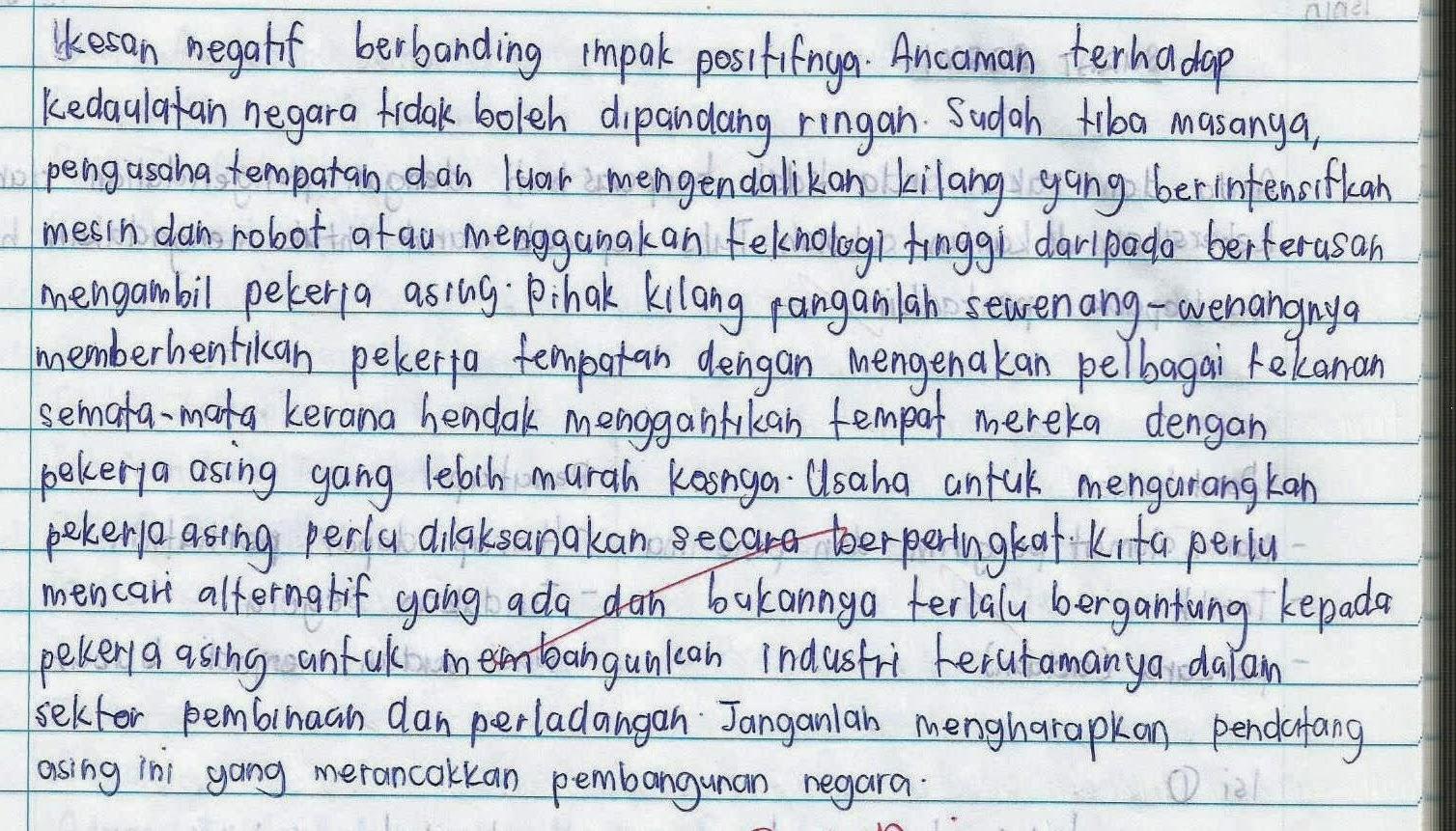 Karangan Perbincangan Kesan Kedatangan Pendatang Asing Di Negara Kita Karangan Bahasa Melayu Pmr