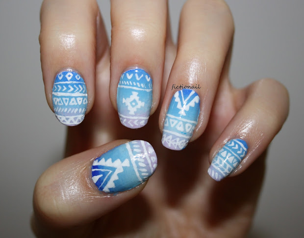 gradient aztec nails