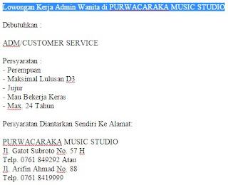 Lowongan Kerja Admin Wanita di PURWACARAKA MUSIC STUDIO