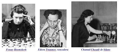 Las ajedrecistas Fenny Heemskerk, Eileen Betsy Tranmer y Chantal Chaudé de Silans