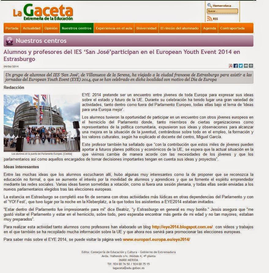 http://lagaceta.educarex.es/leer/alumnos-profesores-joseparticipan-european-youth-event-estrasburgo.html
