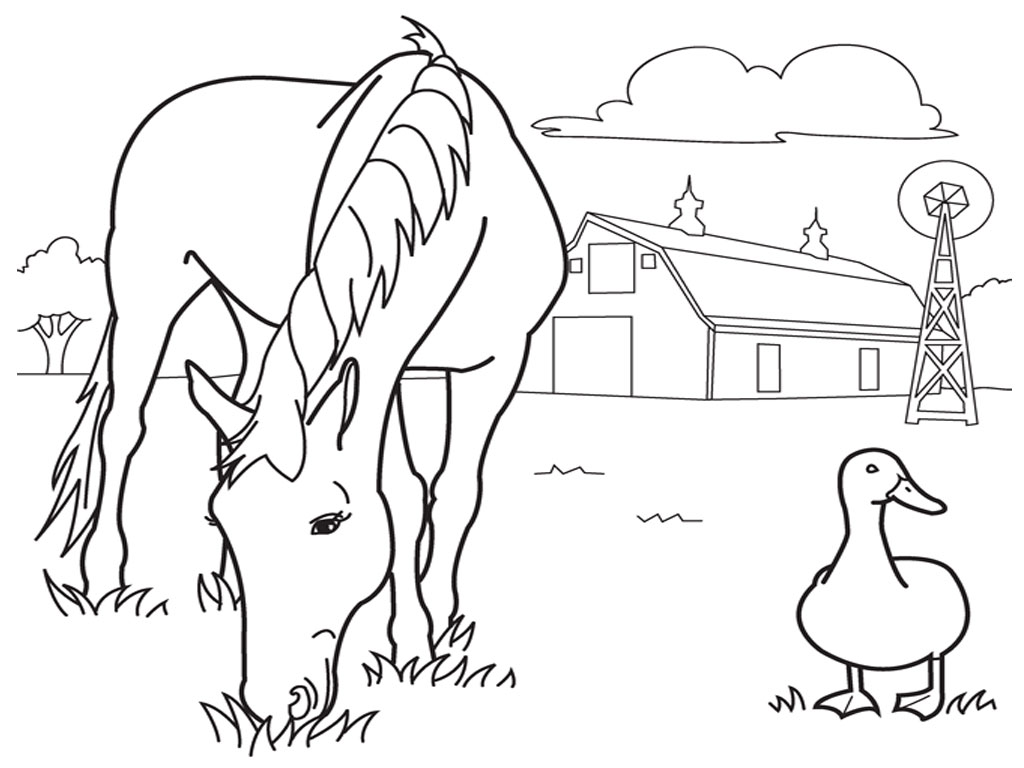 ranch coloring pages - how to draw horse stables