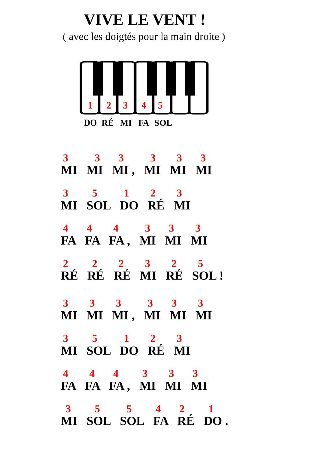 Partition Piano Vive Le Vent