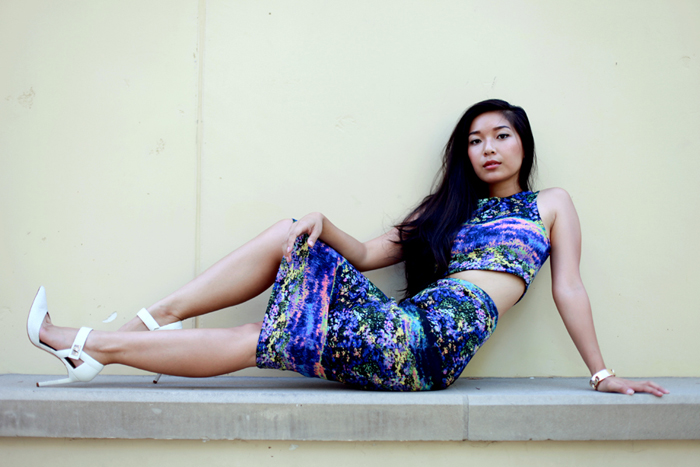 Stephanie Liu of Honey & Silk wearing the Impressionist Dress from shoplastnight.com and Aldo x Preen heels