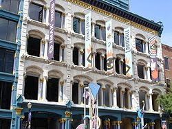 historic buiding on west main street in downtown louisville with the cast iron front and four floors of ornate windows