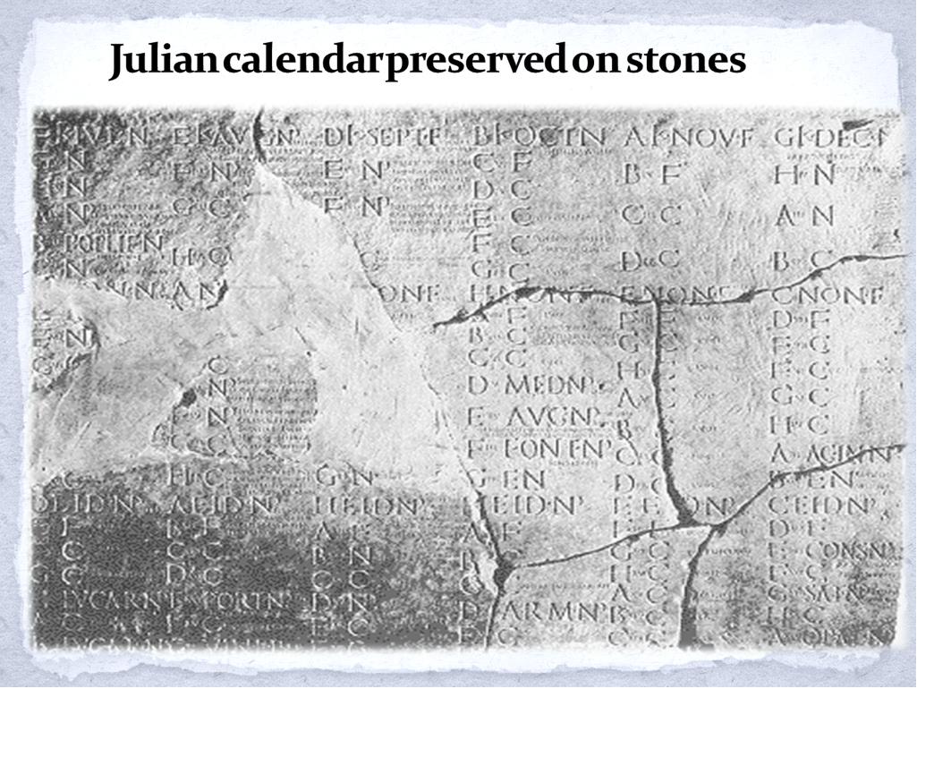 Julian Calendar Example of julian calendar