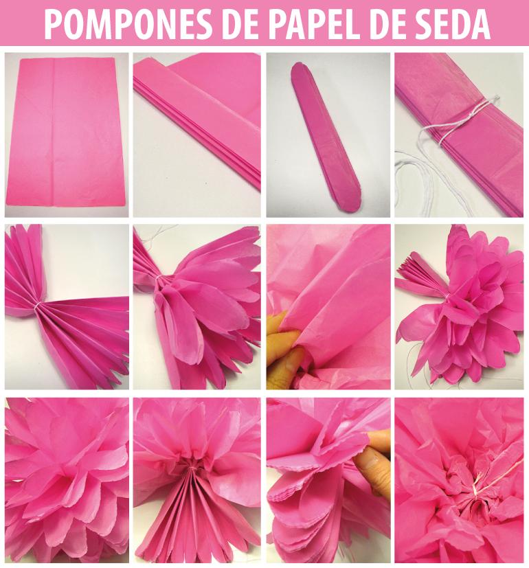 Imagenes fantasia y color como hacer rosetas de papel - Pompones con papel de seda ...