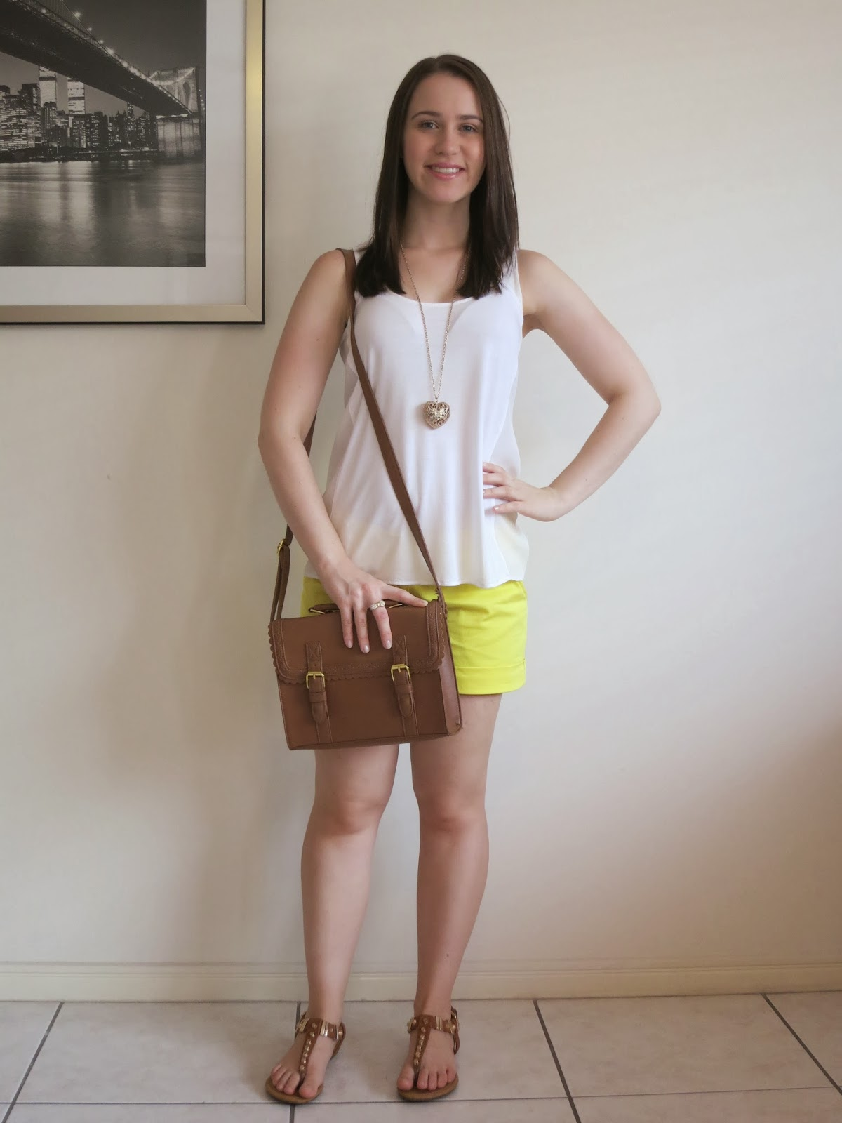 petite outfit, college outfit, everyday outfit, university outfit, yellow shorts, sheer panels tank, tan accessories with gold studs