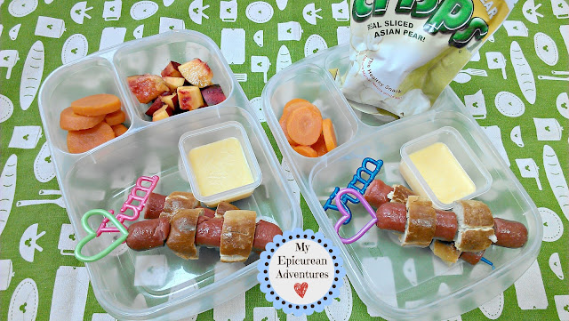 Soft Pretzels and Hotdogs on a stick in #EasyLunchboxes