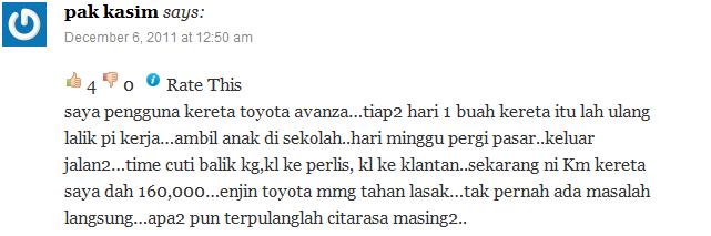 Apa kata pengguna Toyota Avanza 6