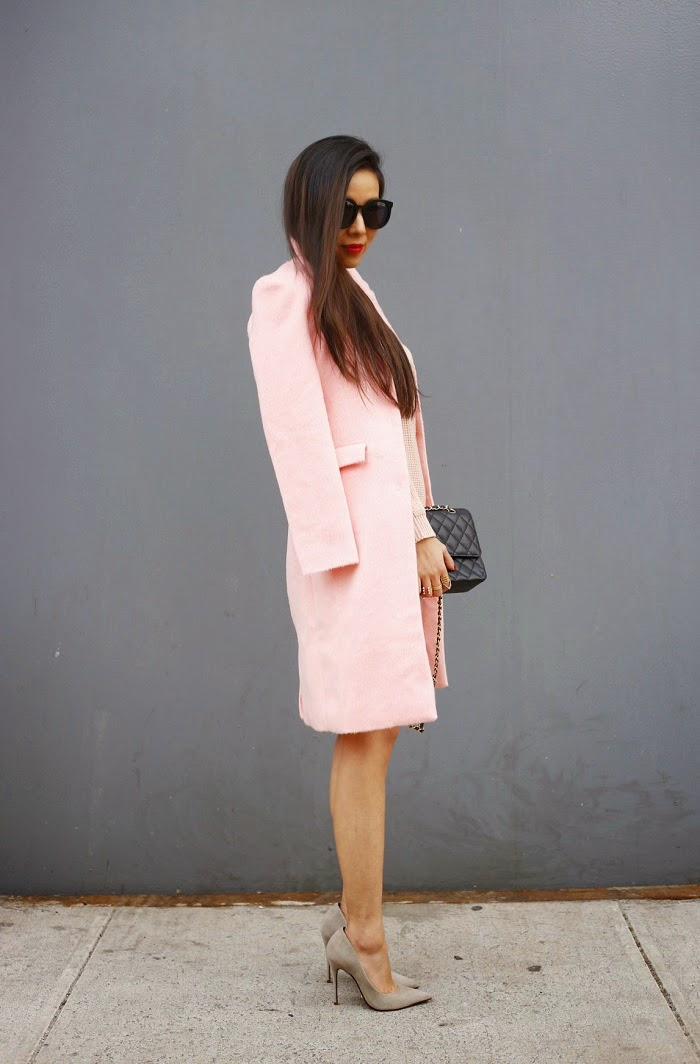 Missguided boyfriend pink coat, missguided off shoulder pink sweater, Karen walker super duper sunglasses, ysl lipstick, Chanle classic flap bag, schutz heels, baublebar ring, marc jacobs, street style, pink outfit, spring outfit, fashion blog