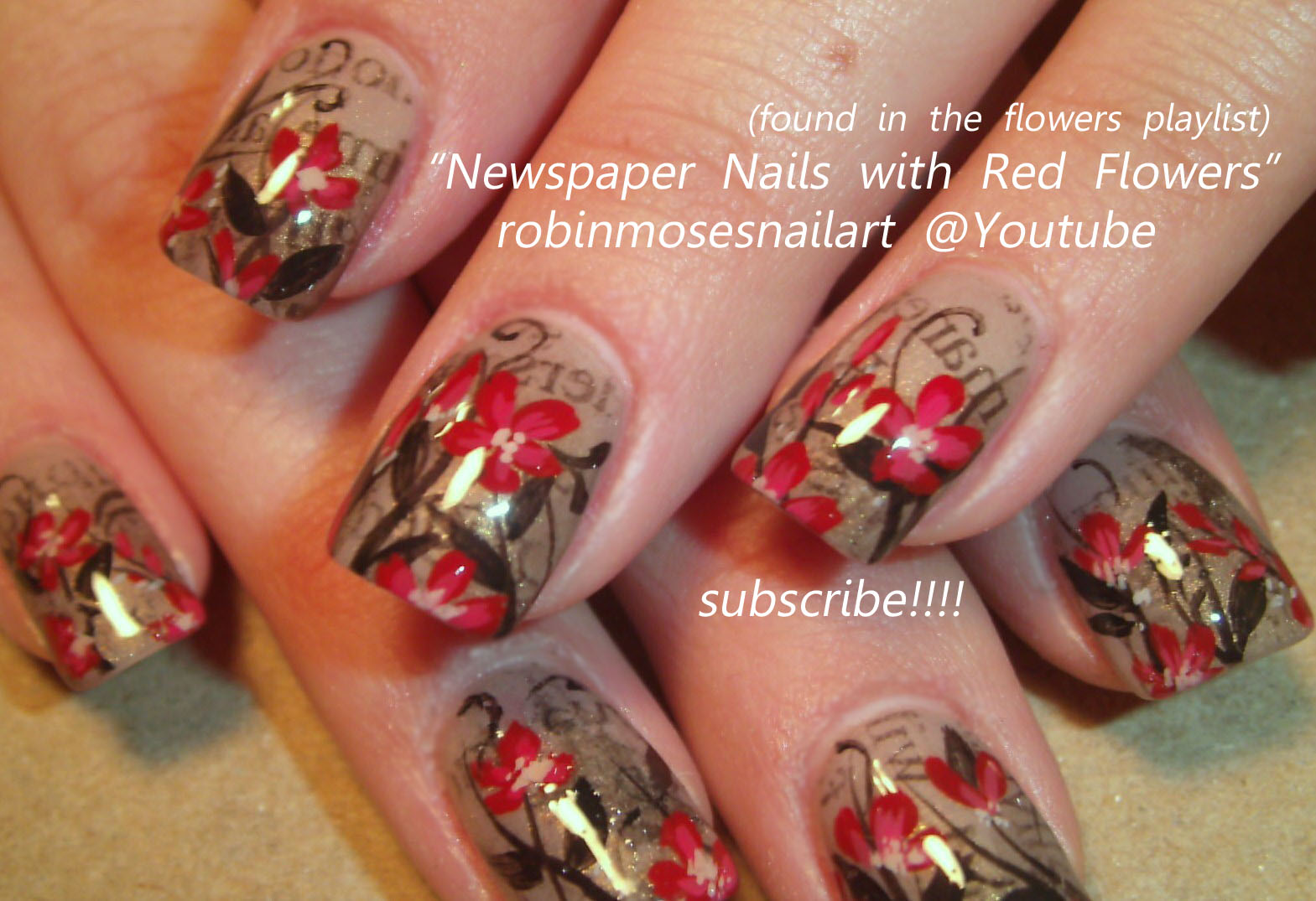 Nail Art Design: newspaper nails, newspaper nails with flowers, pink ...
