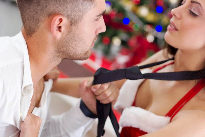 Sexy Female Santa Seduces Man on Christmas