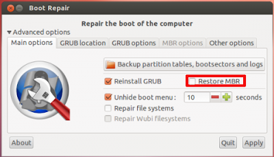 How to restore MBR in dualboot system