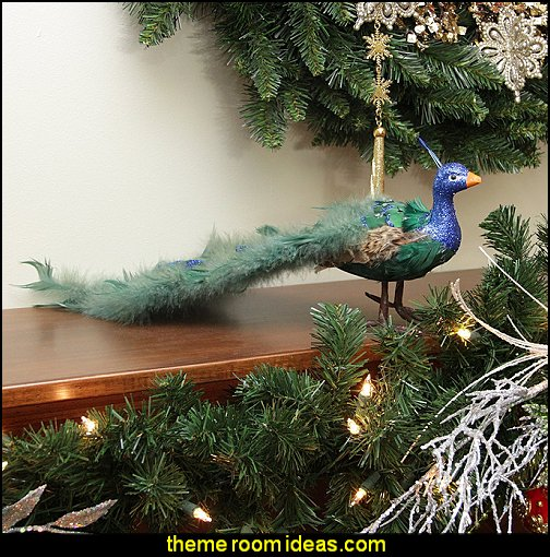 Colorful Green Regal Peacock Bird with Closed Tail Feathers Christmas Decoration
