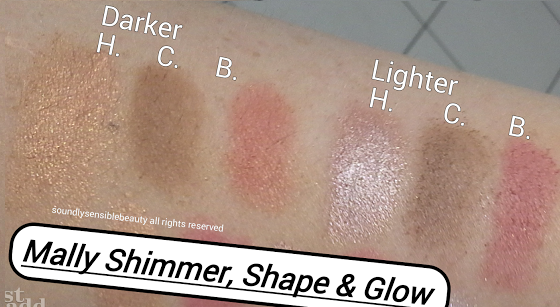 Mally Shimmer, Shape & Glow, (Blush, Highlighter & Countour Trio) Review & Swatches of Shades Lighter & Deeper
