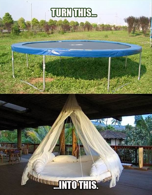 Do you sometimes wonder why we spend so much money on intricate pieces of design that could simply be handmade from another piece of furniture lying around ... & Transform a Trampoline Into a Lavish White Hanging Lounge ~ GOODIY