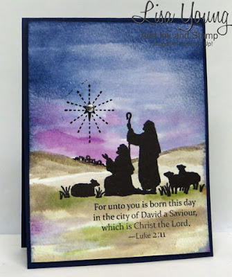Stampin' Up! Every Blessing stamp set. Silhouette of shepherds on watercolored background. Handmade Christmas card by Lisa Young, Add Ink and Stamp