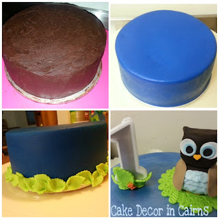 Ganache and Fondant covered cake and owl topper steps.