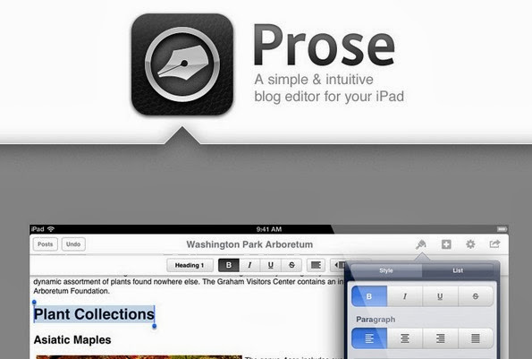 Prose blogging app for iPad