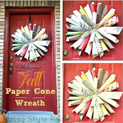 Fall Paper Cone Wreath Tutorial