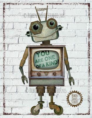 Retro Robot Art Print - Robin Davis Studio
