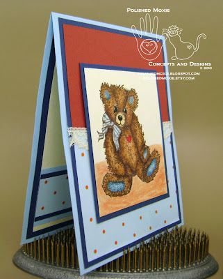 Picture of my lace embellished teddy bear card set at a right angle to show dimensional elements